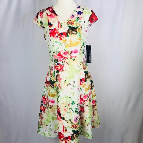 ffff5cd2df0502 Chetta B Dresses | Floral Cap Sleeve Fit And Flare Dress | Poshmark